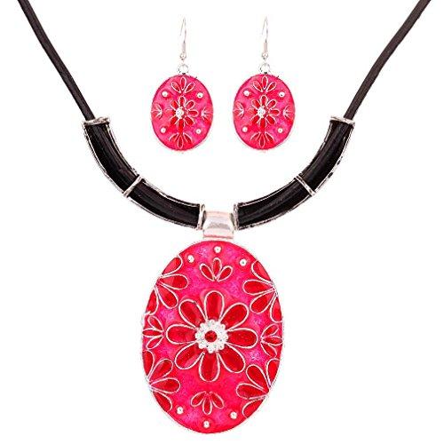 Yazilind la vendimia de plata tibetana de la PU de la cadena del cuero del esmalte rojo de la flor de la forma del huevo babero Colgante Declaración de los pendientes del collar Set