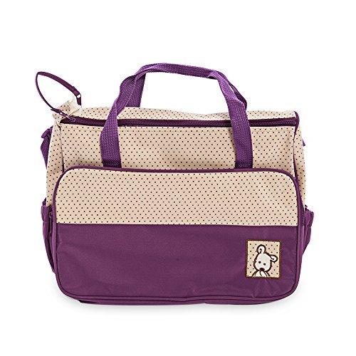 Multifunktional Dot Windel Wickeltasche Mama Handtasche Windel Pad Fläschchen Halterung Food Bag für Baby-5x violett