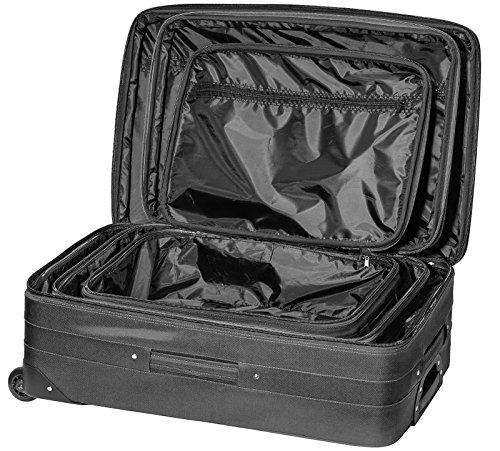 Packenger Easy Traveller Koffer 3er-Set aus Nylon in der Farbe Schwarz. Abmessungen: Größe M (Bordcase), L und XL - 2
