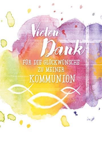 5x Danksagung Kommunion von KE - Dankeskarten - Danksagungskarten - Für Jungen & Mädchen - DIN C6-5er Set Klappkarten inkl. Innentext & Umschläge - Motiv: Fische_D