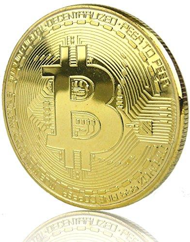 6976db8f03 LZWIN Rexul – 1 Moneda Bitcoin, chapada en Oro, Coleccionable, Moneda  física de