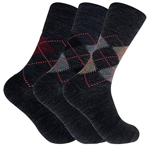 3 paires homme mince sans elastique chaussettes laine avec argyle motif (39-45 eur, SE049 Grey)