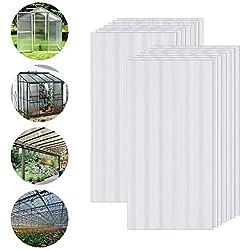 Froadp 14 pièces Plaques Creuses en Polycarbonate 700g/m² Ondulées Résistant aux UV Serre de Jardin Tente Total 10,25m² pour Plante Jardinage(605x1210x4mm, Transparent)
