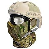 QMFIVE Máscara Media de Airsoft, máscara táctica Protector del oído Caza Paintball de la Motocicleta Militar Película de Cosplay Prop (MC + Gafas + Bufanda)