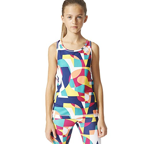 adidas Mädchen T-Shirt YG W F Tank, Grün/Rot/Blau/Weiß, 128, 4055343871400