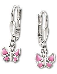 CLEVER SCHMUCK Silberne Ohrhänger Schmetterling plastisch alles rosa glänzend STERLING SILBER 925 für Kinder
