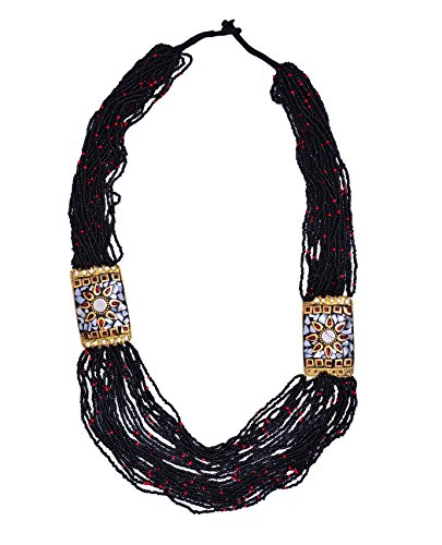 Purpledip Multistrand Rani Haar Necklace With Black & Golden Beads For Women (30091)  available at amazon for Rs.329
