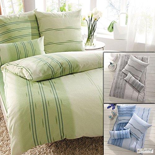 Opal 3074170300 Eiko Weichfrottierbettwäsche, RV Garnitur 135 x 200 cm und 80 x 80 cm Kissen, 300, grün