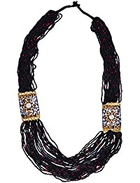 Purpledip Multistrand Rani Haar Necklace With Black & Golden Beads For Women (30091)