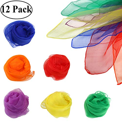z Jonglier Tücher Schals, Tanz Tücher Square Jongliertücher Magic Schals Kinder Spielen Sinnesspielzeug für Kleinkinder Babys ()