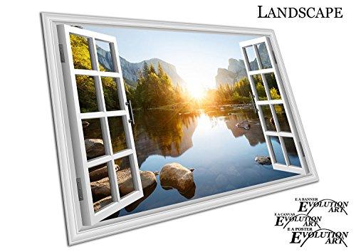 Fenster Aussicht Kunstdruck auf Leinwand Yosemite Valley Sunrise California, A4 Print Only