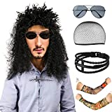 Beelittle 80s Heavy Metal Wig Rockstar Costume Rocker Accessories - Fake Temporary Tattoo Sunglasses Pulseras de Cuero
