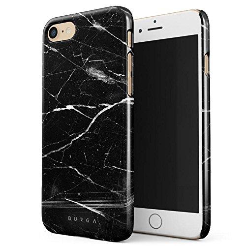 Schwarz-marmor (iPhone 7 / iPhone 8 Hülle Schwarz Marmor Muster Black Marble Dünn, Robuste Rückschale aus Kunststoff Für iPhone 7 / 8 Handyhülle Schutz Case Cover)