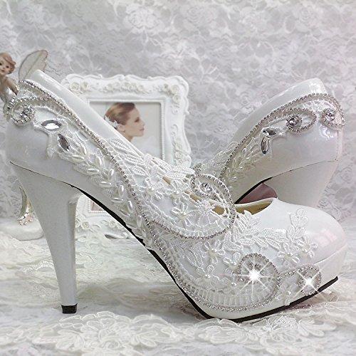 JINGXINSTORE Nuziale matrimonio bianco scarpe fiori di pizzo Strass damigella mostra perla scarpe scarpe donna Crystal tacco alto Bianco