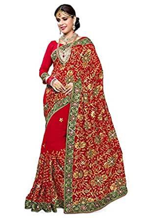 SOURBH Women's Georgette Saree With Blouse Piece (858_Red)