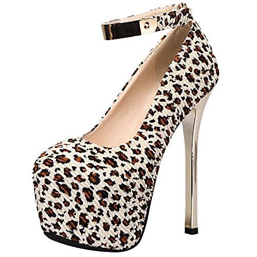 Oasap Damen Leopard Muster Rund Plattform High Heels Pumps White