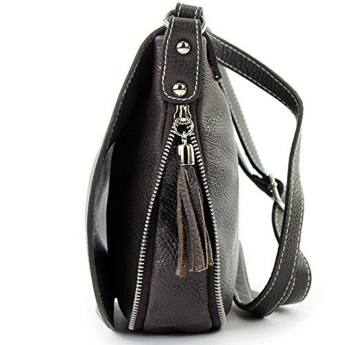 modamoda de - ital. Ledertasche Damentasche Umhängetasche Messenger Crossover Leder T06 Dunkelbraun