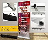 Rollup Display 85x200cm +Druck +Tasche Banner Displays Digitaldruck Werbeständer Werbebanner Werbung Aufsteller 12A01, Roll up Größe:85cmx200cm;Designerstellung:nein