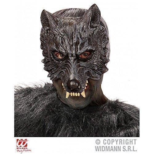 Stabile Schaumstoffmaske Wolf / Wolfsmaske / Halloweenmaske mit freiem Mund