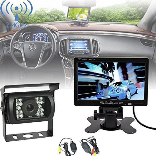 LESHP Rückfahrkamera 7 Zoll Funk Nachtsicht Auto Kabellos Rückfahrsystem 7