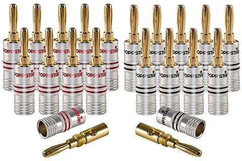 Poppstar 20x Bananenstecker, Bananas für Lautsprecherkabel (bis 6 mm²), AV Receiver, 24k vergoldet (10x schwarz, 10x rot)