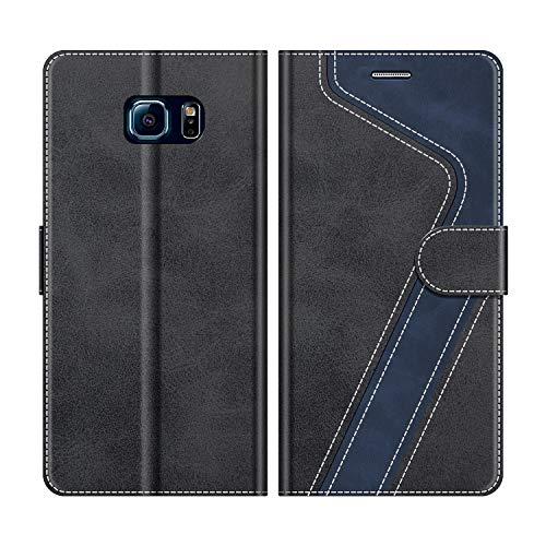 MOBESV Handyhülle für Samsung Galaxy S6 Edge Hülle Leder, Samsung Galaxy S6 Edge Klapphülle Handytasche Case für Samsung Galaxy S6 Edge Handy Hüllen, Modisch Schwarz