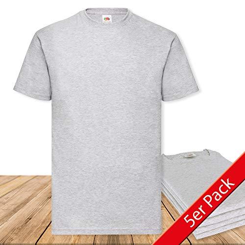 Fruit of the Loom Original  T Rundhals T-Shirt F140 5er Pack- Gr. XXL, Heather Grey