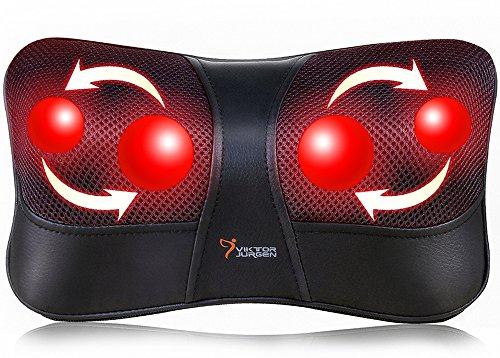 VIKTOR JURGEN Shiatsu Massagegerät für Nacken Rücken Taille Massage zu Hause im Auto 3D-Rotation + Infrarotheizung + Geeignet für Multi-Voltage-Nutzung + 3 Jahre Garantie+vatertag Geschenk für Papa