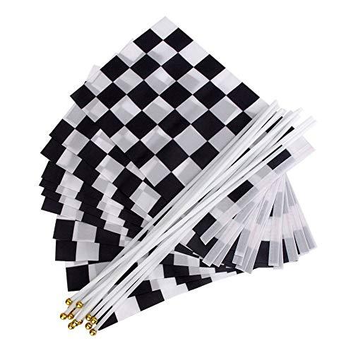 Checkered Flag Stick (Zielflagge Rennflagge, 12 Stück Schwarz und Weiß Checkered Hand Markierungsfahnen Racing Polyester Flags mit Kunststoff Stick für Motorradrennen, Bars, Clubs, Partys, Geburtstage (14 * 21CM))