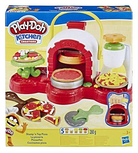 Play-Doh E4576EU4 La Pizzeria - Forno per pizza con 5 vasetti di pasta da modellare, Multicolore, 3 +