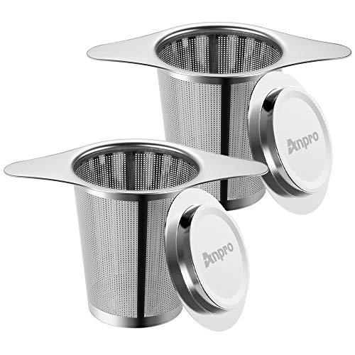 Anpro 2PCS Filtre à Thé Trou Fin Acier Inoxydable Infuseur à Thé Passoire à Thé avec Deux Languettes Et Couvercle pour Mug Tasse Théière- 6cm x 7.5cm
