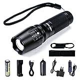 Taktische Taschenlampe FYHAP Superhelle CREE LED Mini T6 Taschenlampe mit einstellbarem Fokus, 5 Beleuchtung Modus, inklusive 18650 Batterie, Tragbare Wasserdichte Taschenlampe für Camping Wandern Haushalt