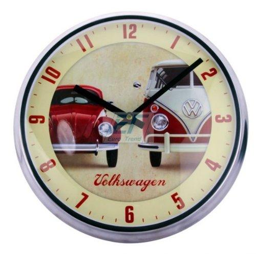 VW Käfer und Bulli Volkswagen Wanduhr mit Metallrahmen & Quarzuhrwerk Uhr #8140610009-be
