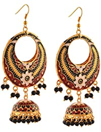 Zephyrr Fashion Lightweight Chandbali Hook Earrings With Meenakari And Beads For Girls And Women