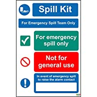 Spill Kit For Emergency Spill Team Only Sign - 1.2mm rigid plastic 300mm x 200mm