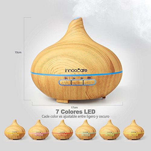 InnooCare 300ml Humidificador Ultrasónico Aromaterapia Difusor de Aceites Esenciales Difusor de Aroma 7 Colores LED 4 Temporizadores Vapor Frío Perfecto Casa  Dormitorio  Baño  Yoga  Sauna y Oficina