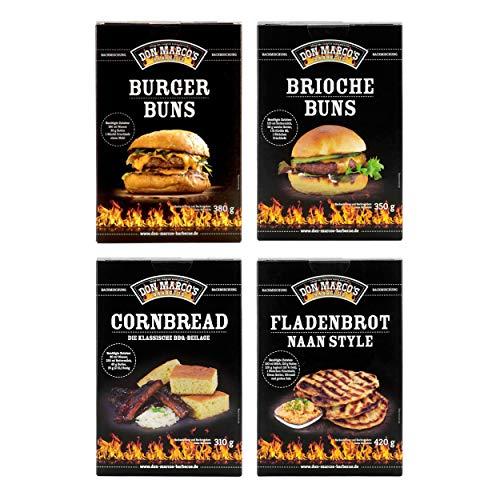 Don Marco`s KS0094 Don Marco´s Barbecue Backmischungen 4er-Set: Burger Buns, Brioche Buns, Cornbread & Fladenbrot Naan Style