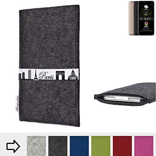 flat.design für Allview A9 Plus Schutzhülle Handy Case Skyline mit Webband Paris - Maßanfertigung der Schutztasche Handy Hülle aus 100% Wollfilz (anthrazit) für Allview A9 Plus