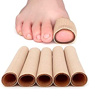 5er Silikon Zehenkappen Zehenschutz Zehen-Fingerschutz Schlauchbandage Fingerbandage Fingerschutz Gel Zehenpolster S