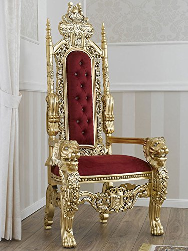 Simone Guarracino Trono Lion Estilo Barroco Frances sillón Color Hoja Oro Terciopelo Bordeaux con...