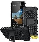 Microsoft Lumia 550 Handy Tasche, FoneExpert® Hülle Abdeckung Cover schutzhülle Tough Strong Rugged Shock Proof Heavy Duty Case für Microsoft Lumia 550 + Displayschutzfolie (Schwarz)