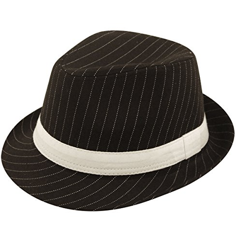 Ladies Mens Adult Gangster Gangsta Bugsy Malone Black/White Pinstripe Trilby Fancy Dress Hat