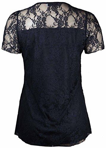 Look Fashion Damen Floral Lace Short Sleeve Ladies Blume gefüttert gemustert T-Shirt Stretch Tunika Party Top Plus Größe Schwarz - Schwarz