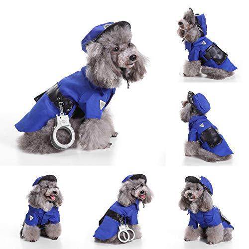 Kostüm Gefangener Hunde - ZZXHallow Haustier Hund Katze Liefert - Haustier Halloween Kostüm Polizei Und Gefangener Cosplay Kostüme Mit Mütze Einstellen Hunde,Police,L