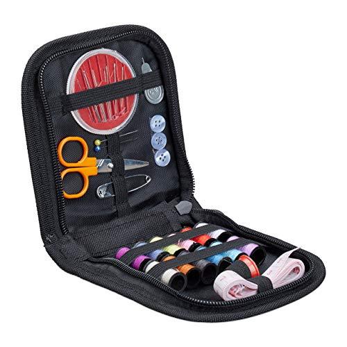 Relaxdays - mini set da cucito, 34 pezzi, con accessori da cucito, portatile, per casa o. home, hbt 2, 7 x 26, 5 x 12 cm, colore: nero