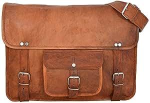 """Gusti Leder nature """"Nick"""" Genuine Leather Messenger Shoulder Satchel Cross Body Bag College University Office 13.3"""" Laptop Bag Unisex Brown U16"""