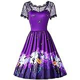 SEWORLD Damen Halloween Kleidung,Mode Halloween Spitze Kurzarm Vintage Kleid Spliced Bat Drucken Abend Party Kleid(D-violett,EU-40/CN-2XL)