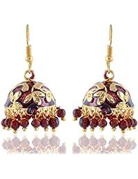 Sinjara Designer Meenakari Gold - Maroon Drop Jhumki Earrings For Women Party Wear Earring For Girls (E-14)
