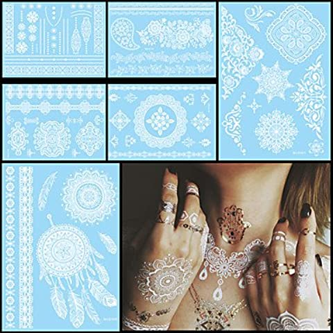 HJLWST® 6pcs impermeabile bianco temporanea tatuaggio per le donne del corpo lettera fiore pasta di monili di nozze collo arte autoadesivo del