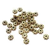 #9: Beadsnfashion German Silver Charkri Beads Golden 6x3 mm, Pack Of 200 Pcs.